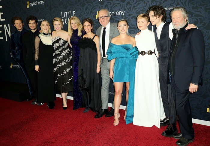 James Norton, Louis Garrel, Saoirse Ronan, Greta Gerwig, Laura Dern, Emma Watson, Tracy Letts, Florence Pugh, Eliza Scanlen, Timothee Chalamet, Chris Cooper at the premiere of Little Women