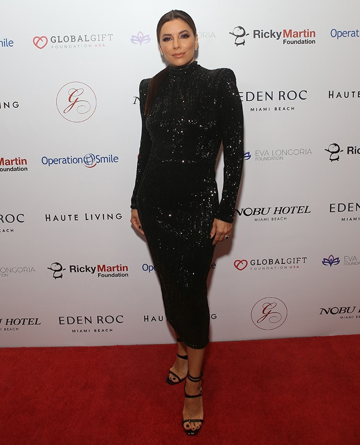 Eva Longoria looks gorgeous in Abyss by Abby figure-hugging black sequin dress