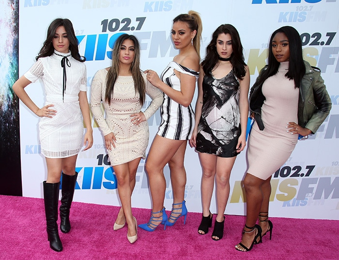 Former girl group Fifth Harmony, consisting of Camila Cabello, Ally Brooke, Dinah-Jane Hansen, Lauren Jauregui, and Normani Kordei at 102.7 KIIS FM's Wango Tango 2016 on May 14, 2016