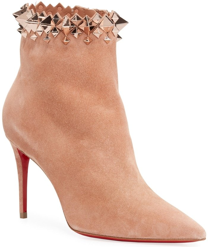 Christian Louboutin suede booties with mixed spikes at collar