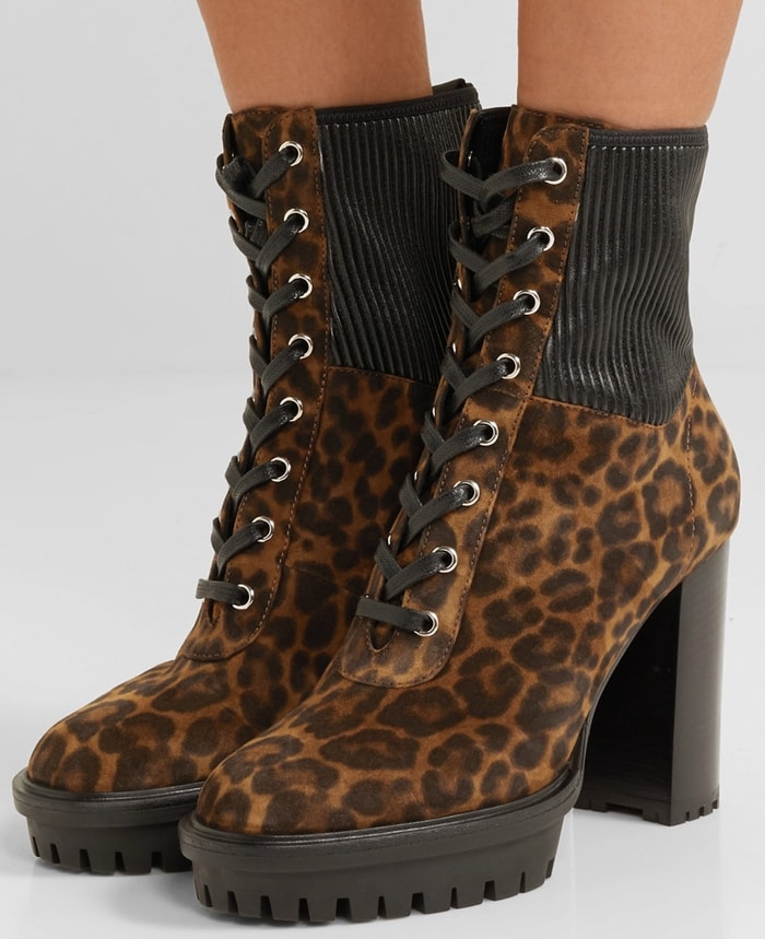 These ankle boots have been made in Italy from soft leopard-print suede and are fitted with stretch-leather panels and chunky platform soles for added traction
