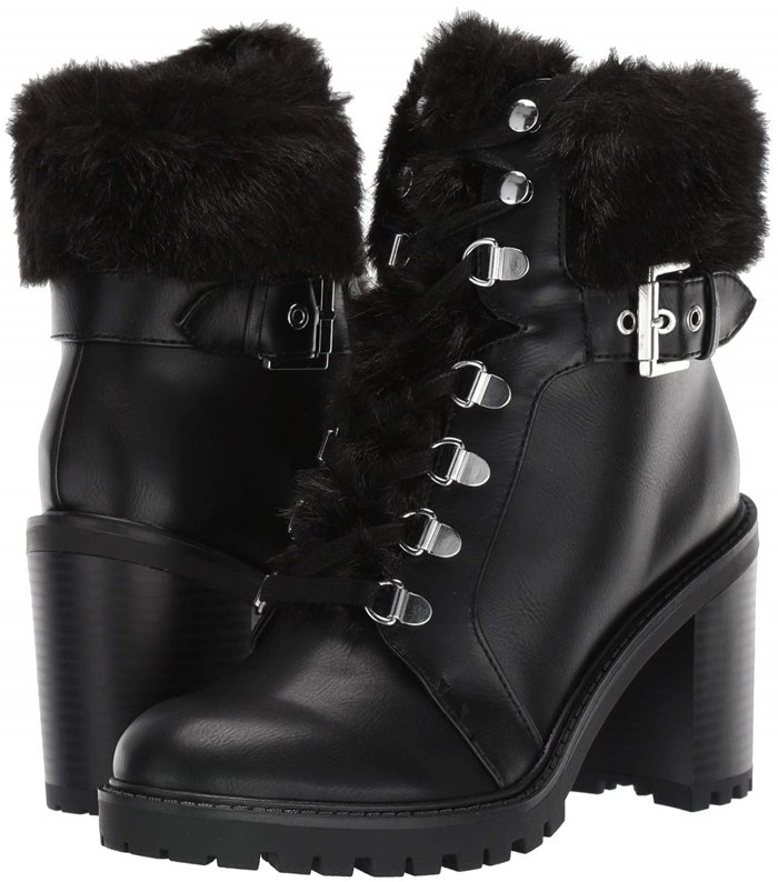 Plush faux fur tops off the fashion-forward profile of the Geisha platform booties adding fun lift to cold-weather style