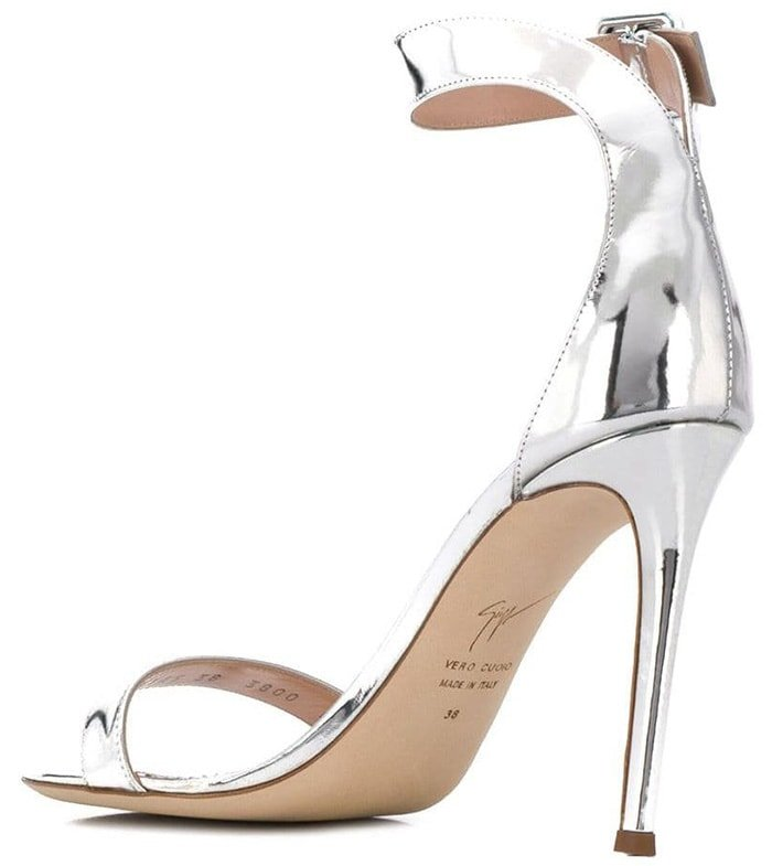 Silver-tone patent leather open toe sandals