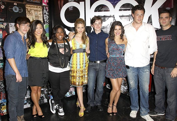 The cast of Glee during The Gleek Tour at Hot Topic in Hollywood on August 28, 2009