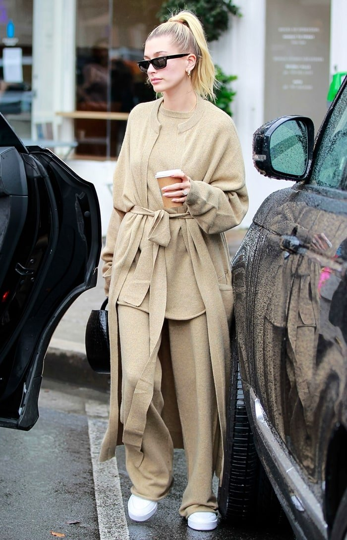 Hailey Bieber wore an Extreme Cashmere look from Dutch designers Saskia Dijkstra and Camille Serra