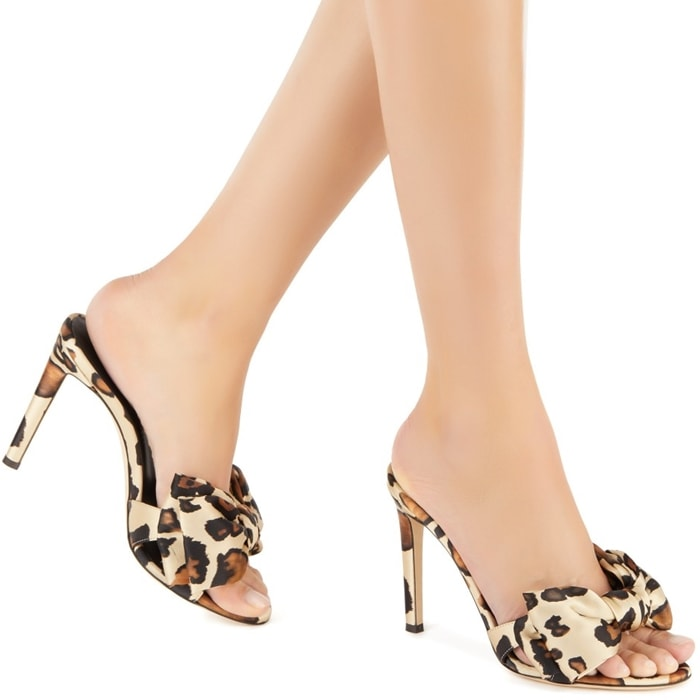 Leopard Hanna Bow-Trimmed Silk Mules