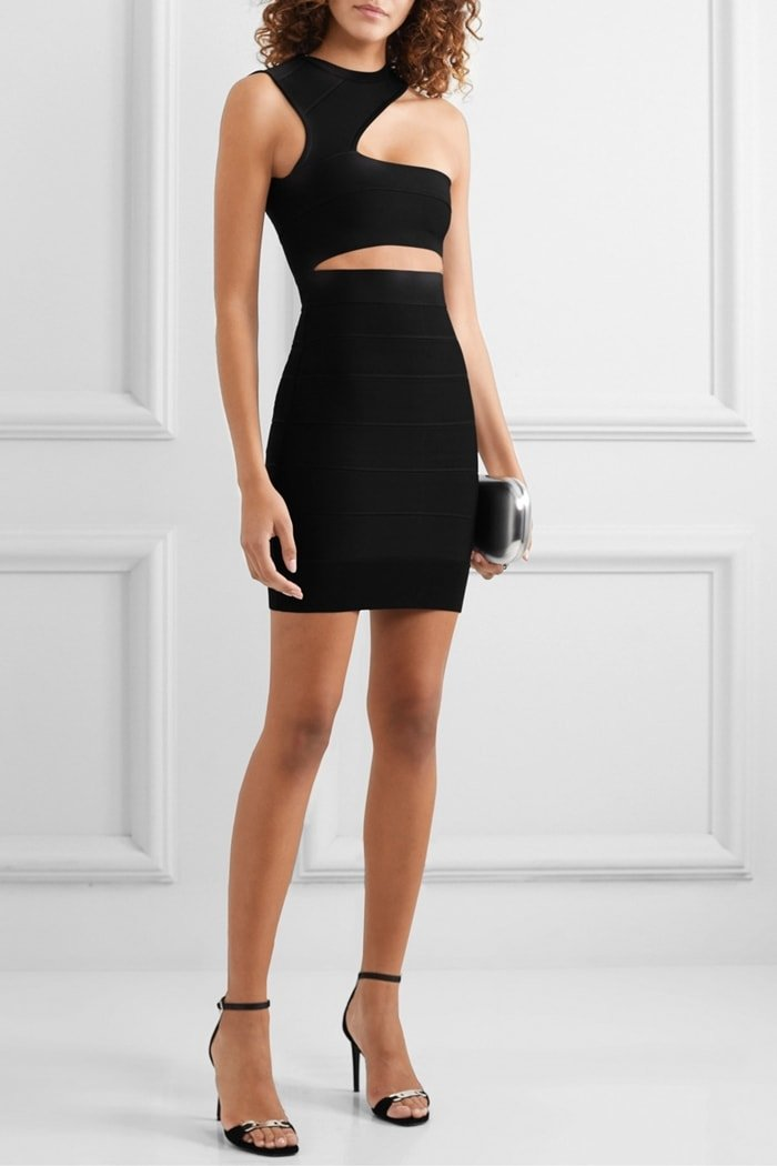Made from the label's signature bandage, this mini dress has a cutout waist and asymmetric neckline that creates a one-shoulder silhouette