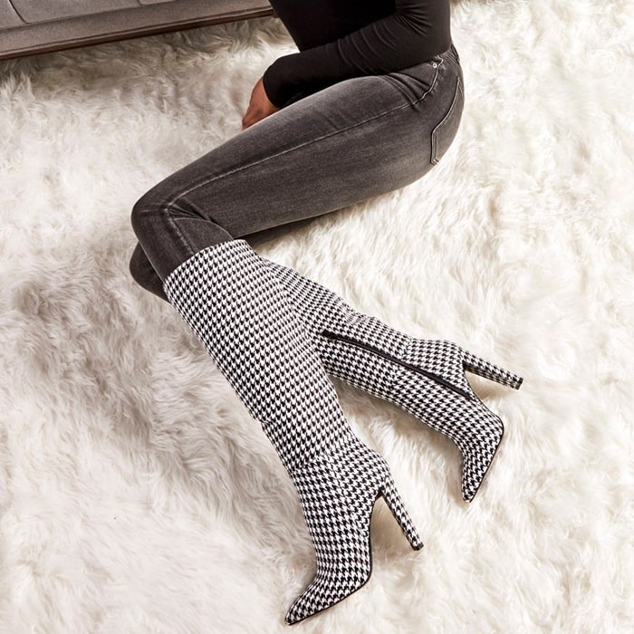 Houndstooth Heeled Tall Boots