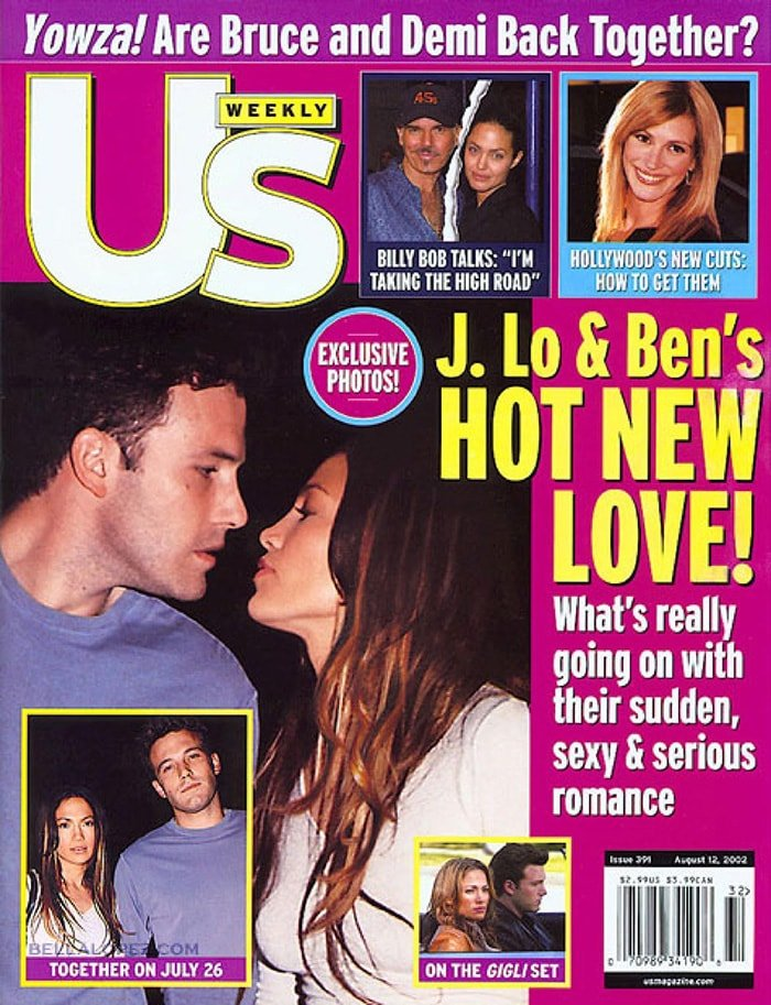 Jennifer Lopez and Ben Affleckon the front cover of US Weekly August 2002 issue