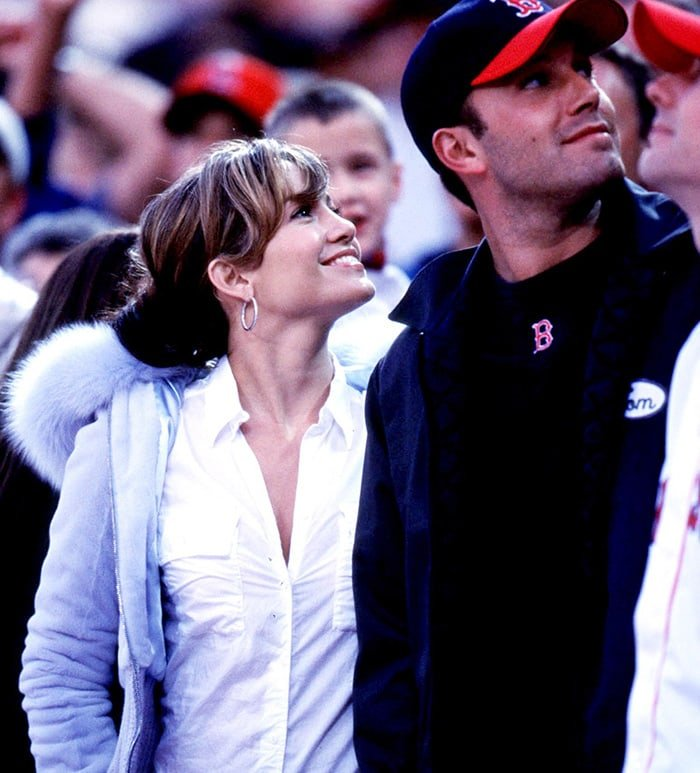 Jennifer Lopez and Ben Affleck attend a Boston Red Sox baseball game in Los Angeles on April 1, 2003