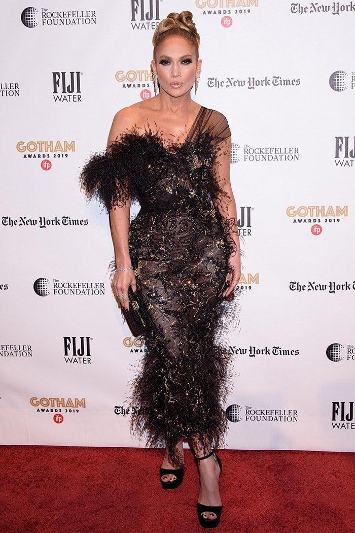 Jennifer Lopez is hot in Ralph & Russo embellished dress at the 2019 Gotham Independent Film Awards in New York City on December 2. 2019