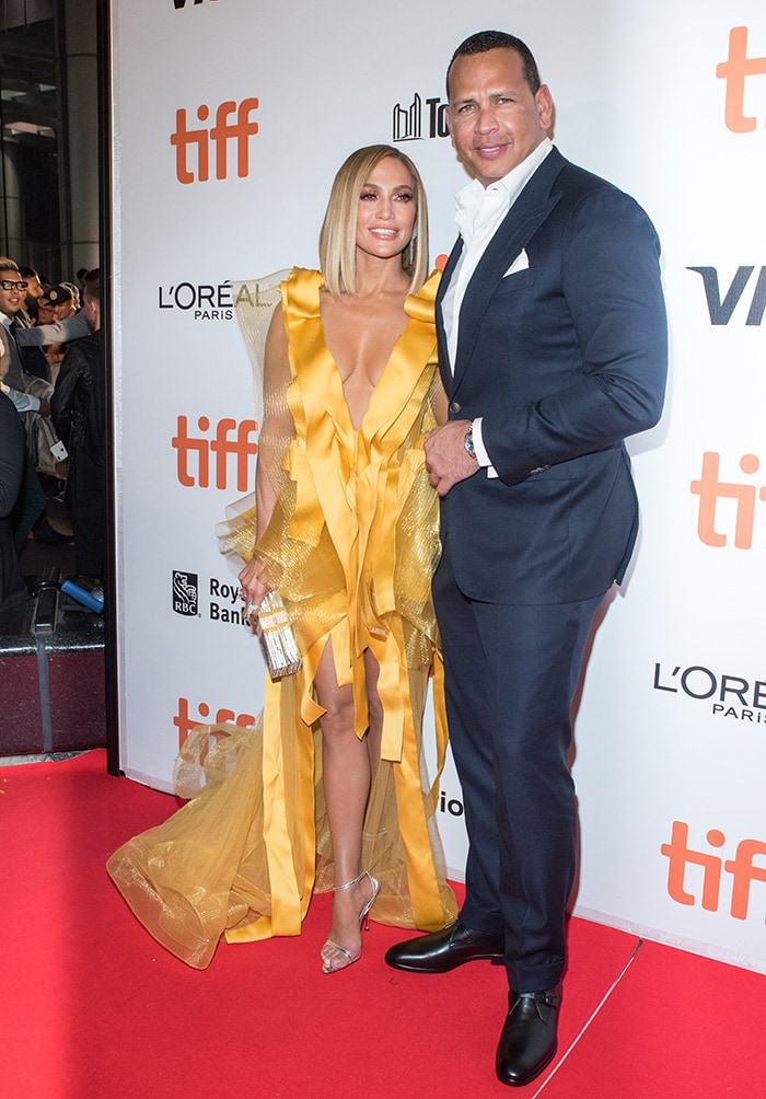Jennifer Lopez looking radiant alongside Alex Rodriguez at the Hustler premiere during the 44th Toronto International Film Festival in Canada on September 8, 2019