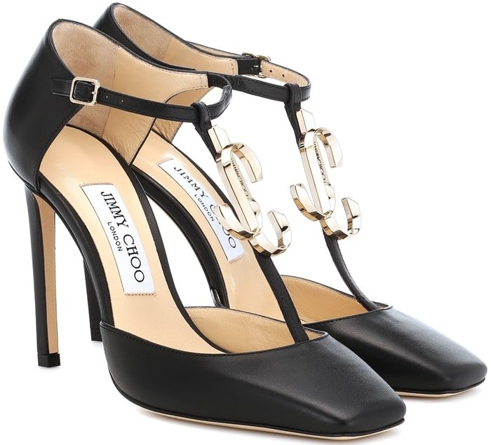 Lexica 100 pumps rendered with logo lettering glistening across its T-bar strap