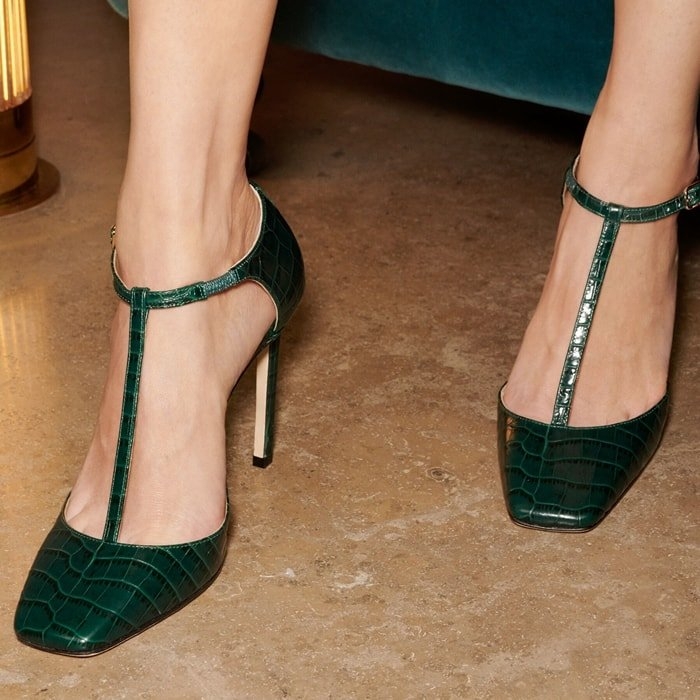 The Lexica 100 pump in dark green croc embossed leather is the perfect pair of heels to take you from day to evening