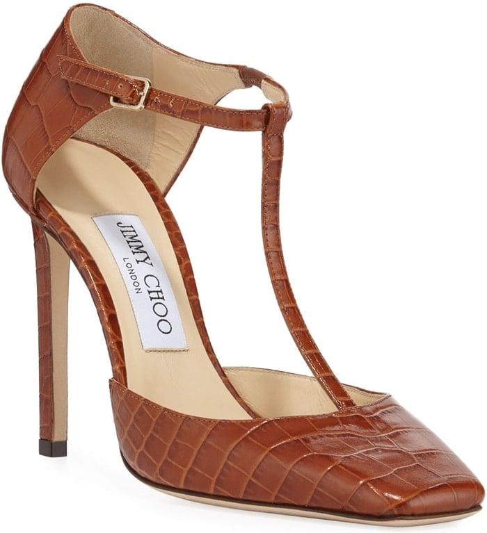 Jimmy Choo crocodile-embossed leather Lexica pumps