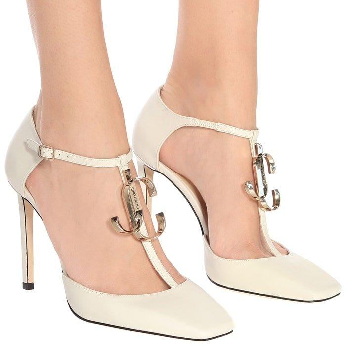 Lexica heels with the label's new monogram in golden tones on the front