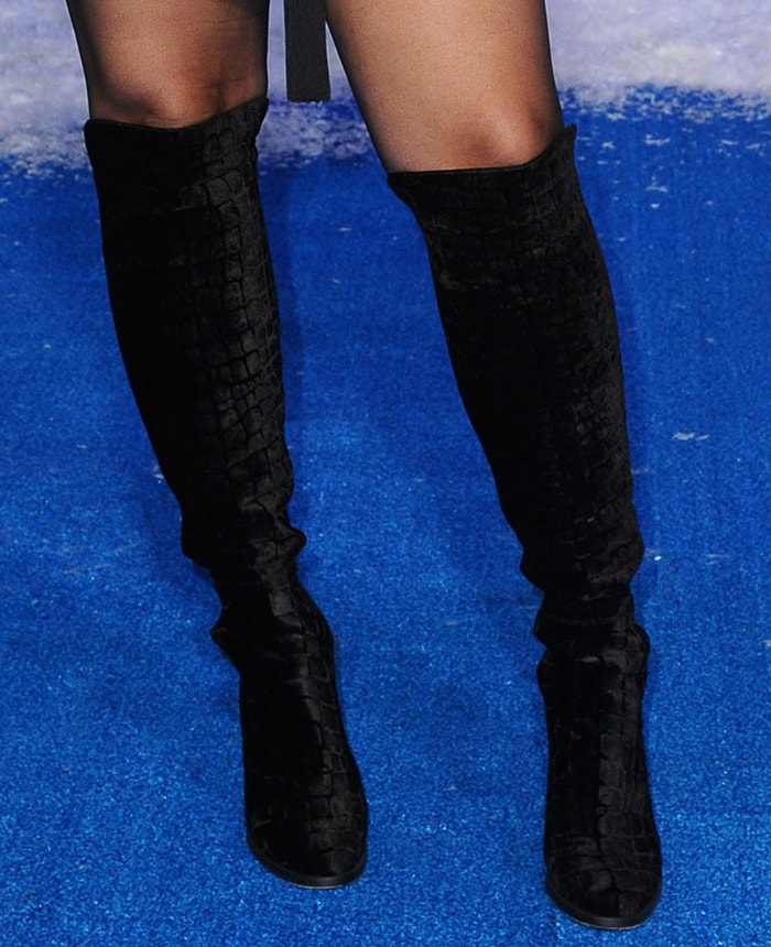 Jordin Sparks pairs her mini with Stuart Weitzman knee-high boots