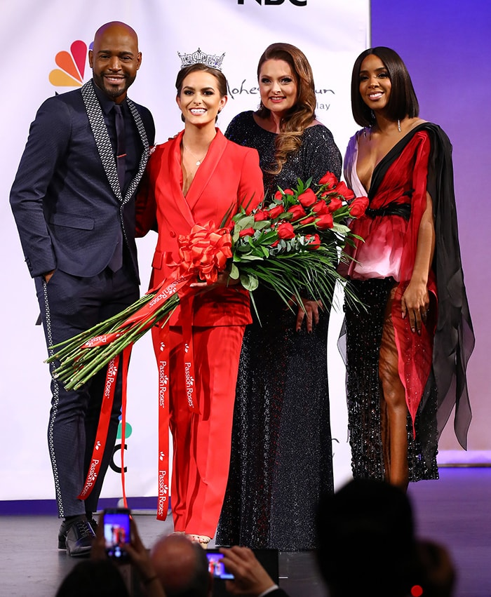 Karamo Brown, 2020 Miss America Camille Schrier, Lauren Ash, and Kelly Rowland pose for photos following the pageant at Mohegan Sun Casino Resort Arena on December 19, 2019