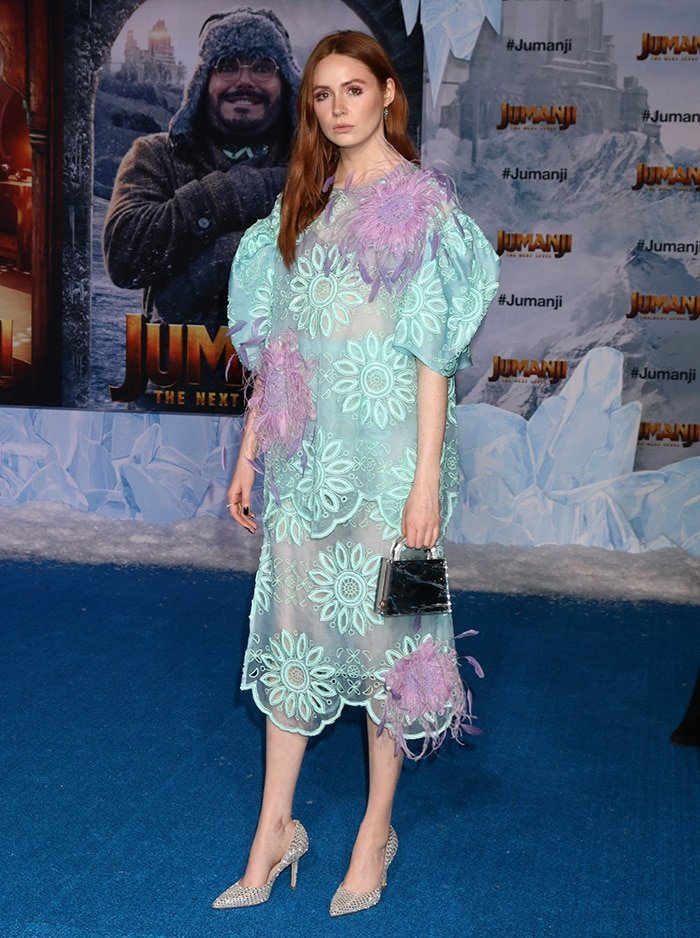 Karen Gillan wows in a see-through mint and lilac dress at the Jumanji: The Next Level premiere at TCL Chinese Theater in Los Angeles on December 9, 2019