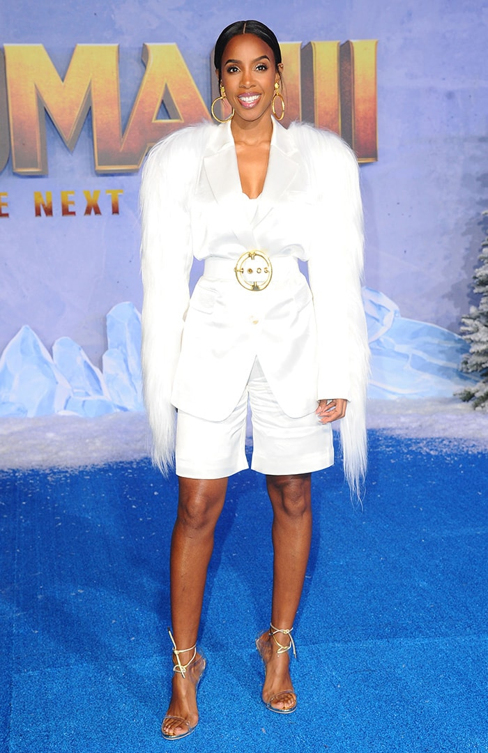 Kelly Rowland parades her long legs in a winter white Anna Kiki short suit