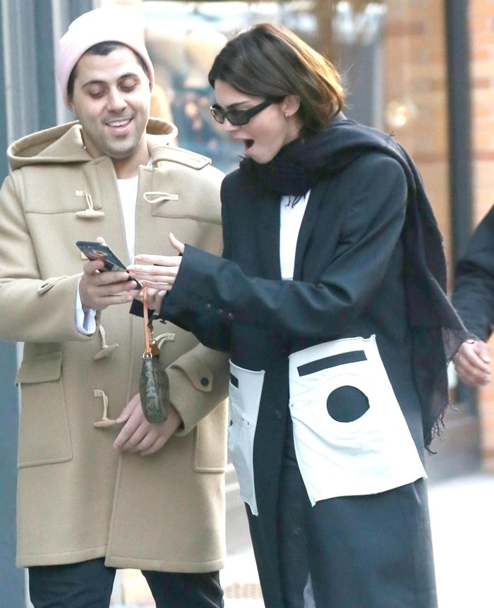 Kendall Jenner pretending to be shocked in New York City on November 20, 2019