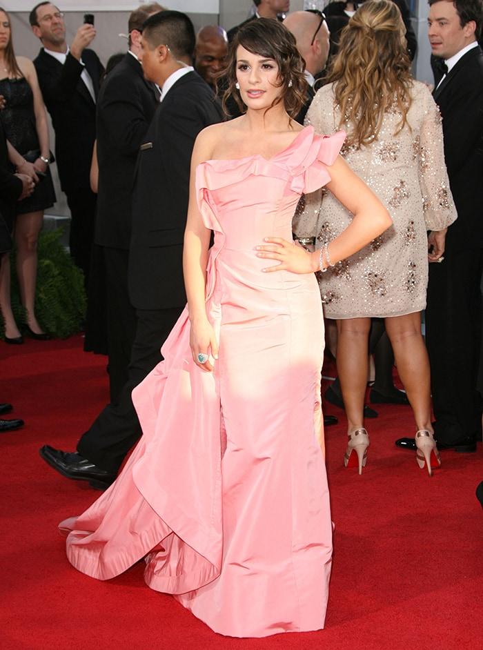 Lea Michele in an Oscar de la Renta gown at the 68th Annual Golden Globe Awards