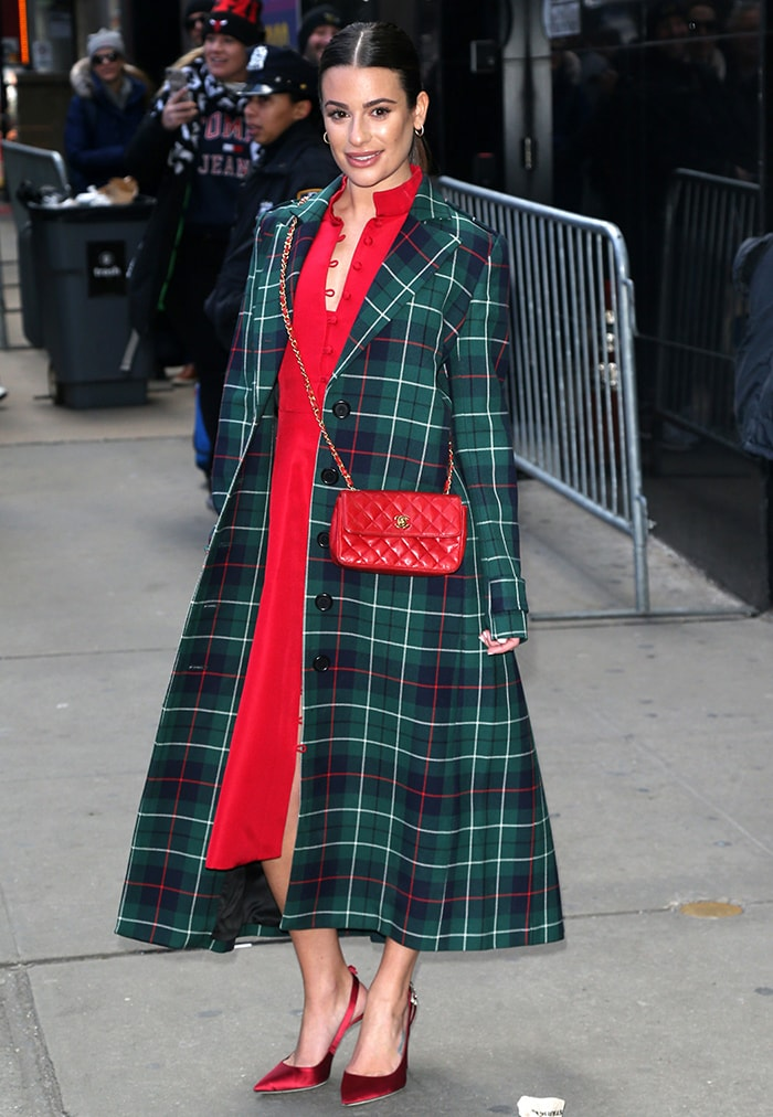 Lea Michele promotes her new album in Novis red dress and Duncan tartan coat on December 5, 2019