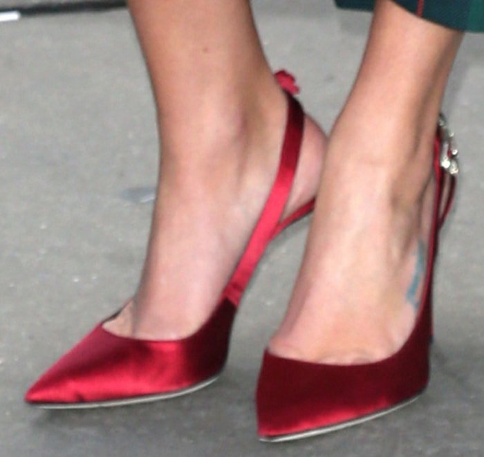 Lea Michele completes her festive look with Giuseppe Zanotti pumps
