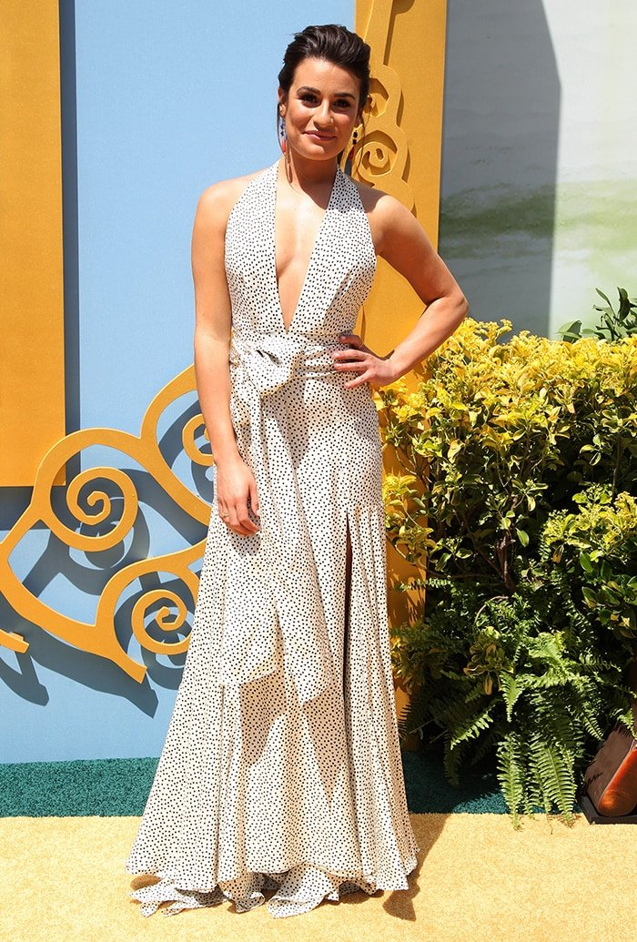 Lea Michele in a Juan Carlos Obando dress at the Legends of Oz: Dorothy's Return premiere