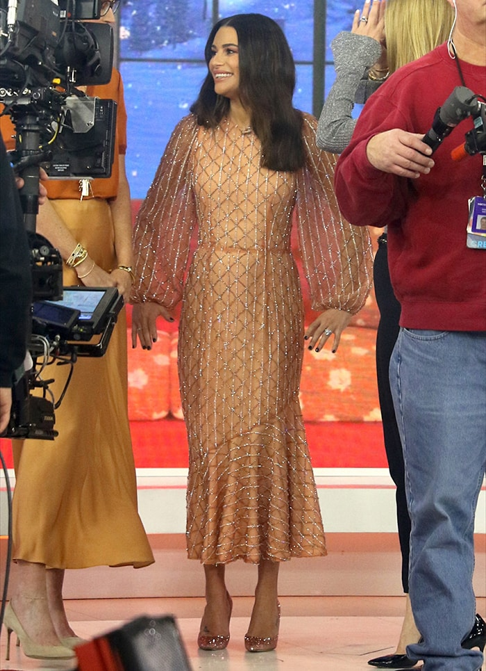 Lea Michele in a Markarian dress on the Today Show on December 3, 2019