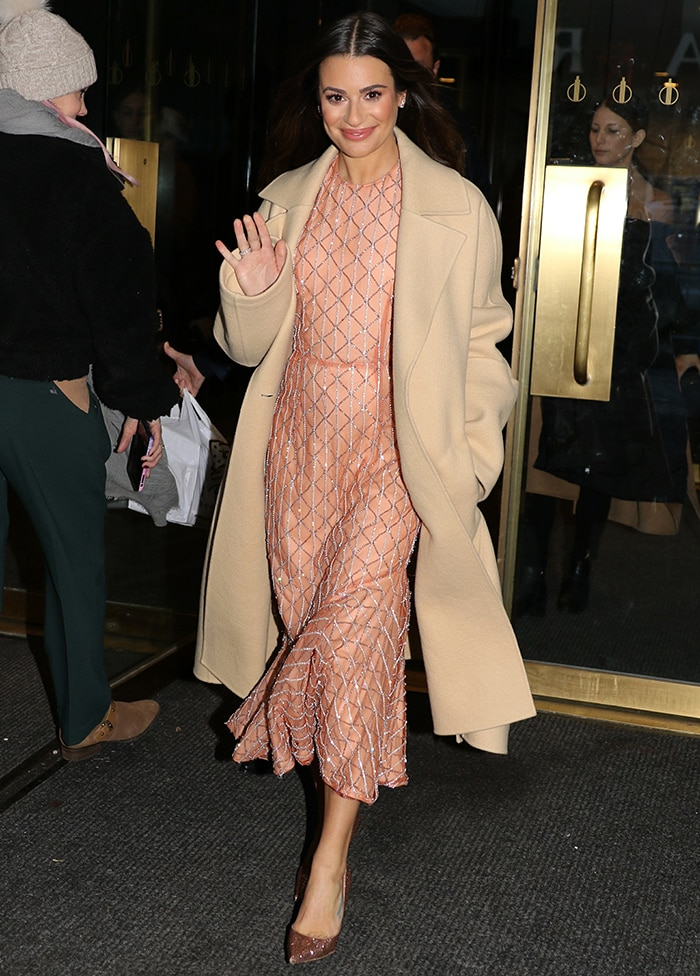 Lea Michele wore a St. John coat over her Markarian dress outside the Today Show studios