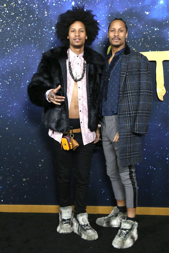 Fur sneakers on the Les Twins at the Cats premiere