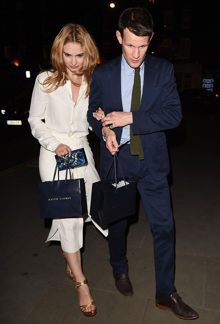 Lily James and Matt Smith at Chiltern Firehouse in London on June 22, 2015