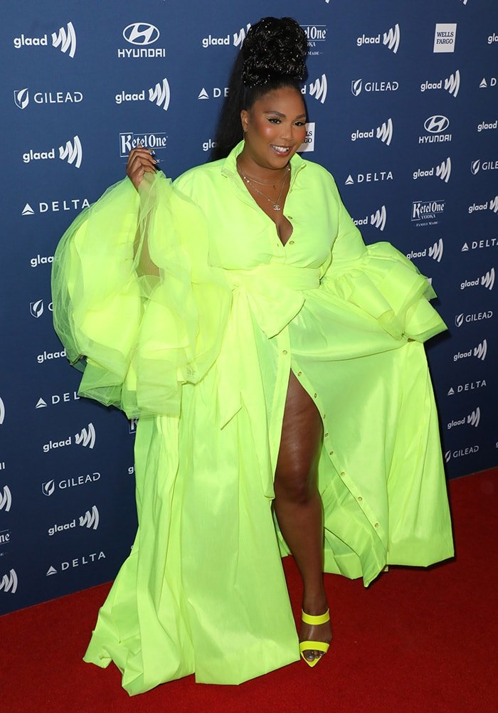 Lizzo in a neon green gown at the 30th Annual GLAAD Media Awards on March 28, 2019