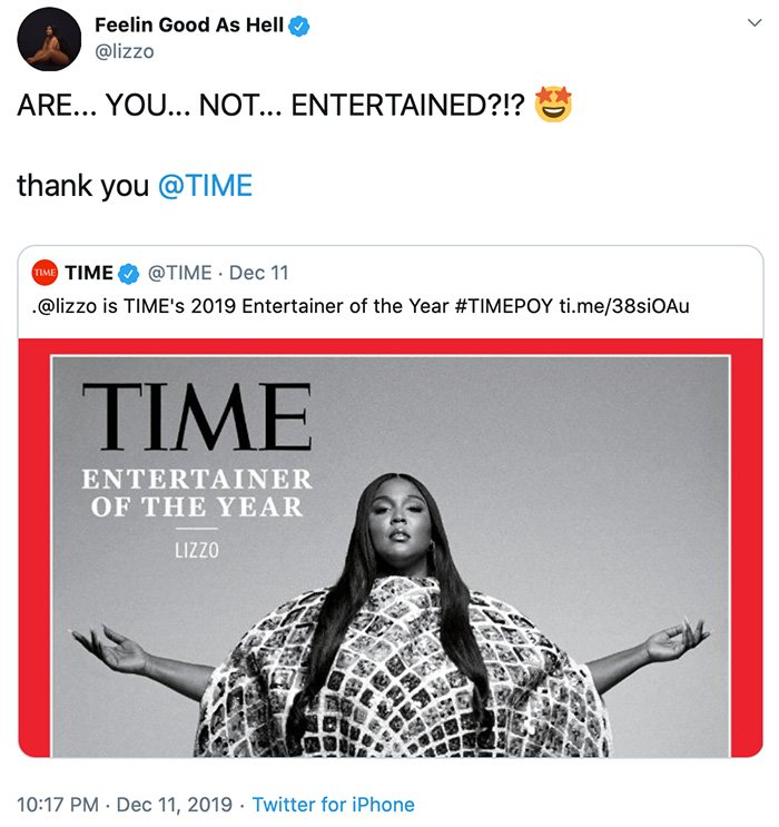 Time Magazine names Lizzo Entertainer of the Year