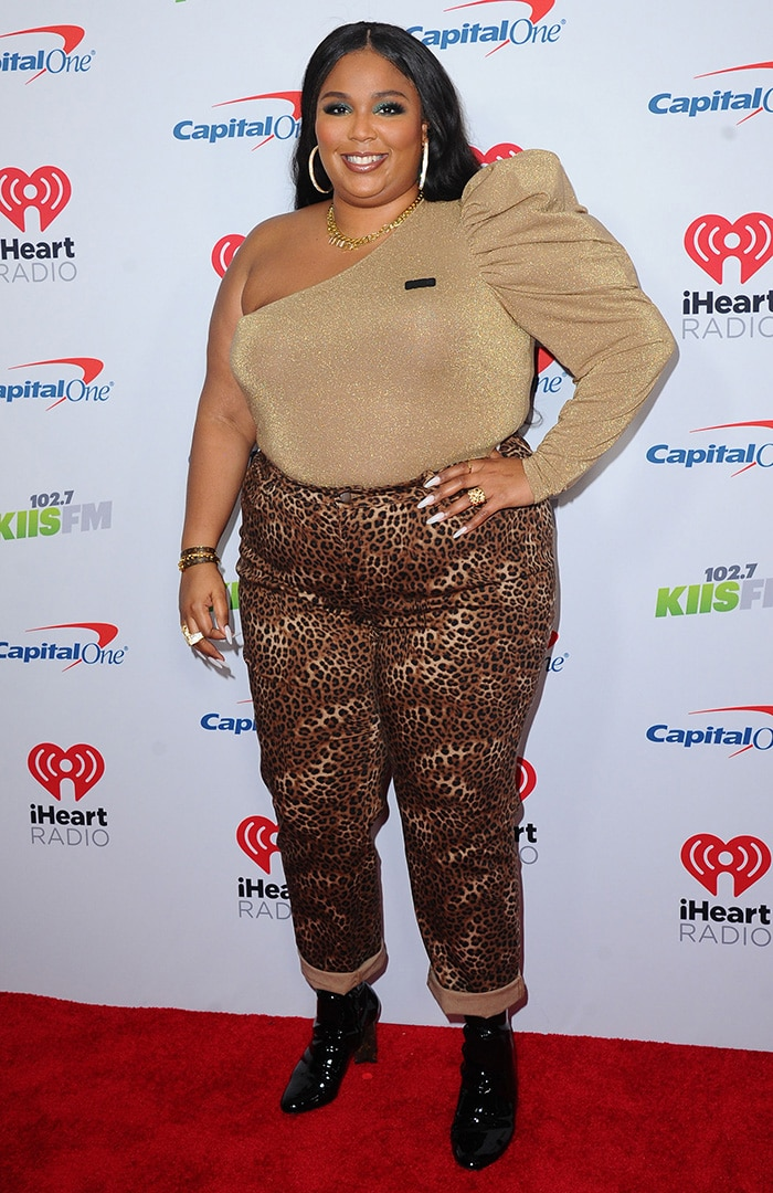 Lizzo shows her wild side in leopard-print pants at KIIS FM's iHeartRadio Jingle Ball 2019 in Los Angeles City on December 6, 2019