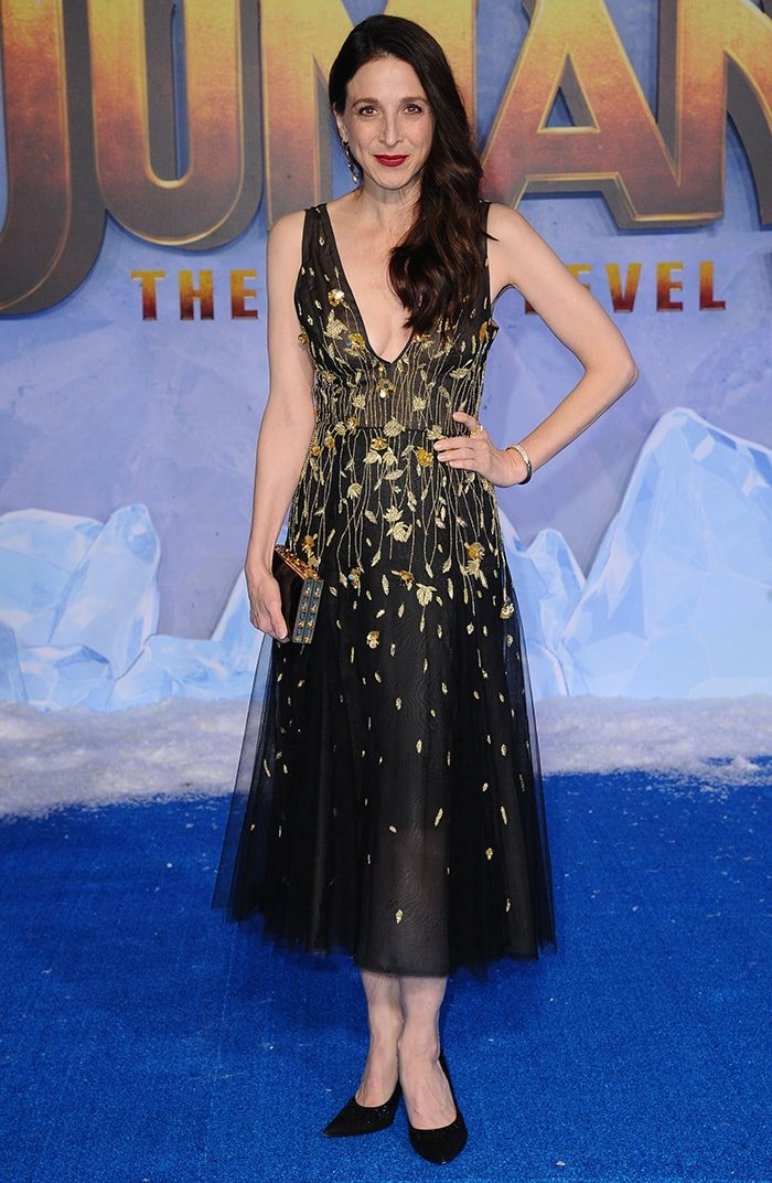 Marin Hinkle flaunts cleavage in J. Mendel dress