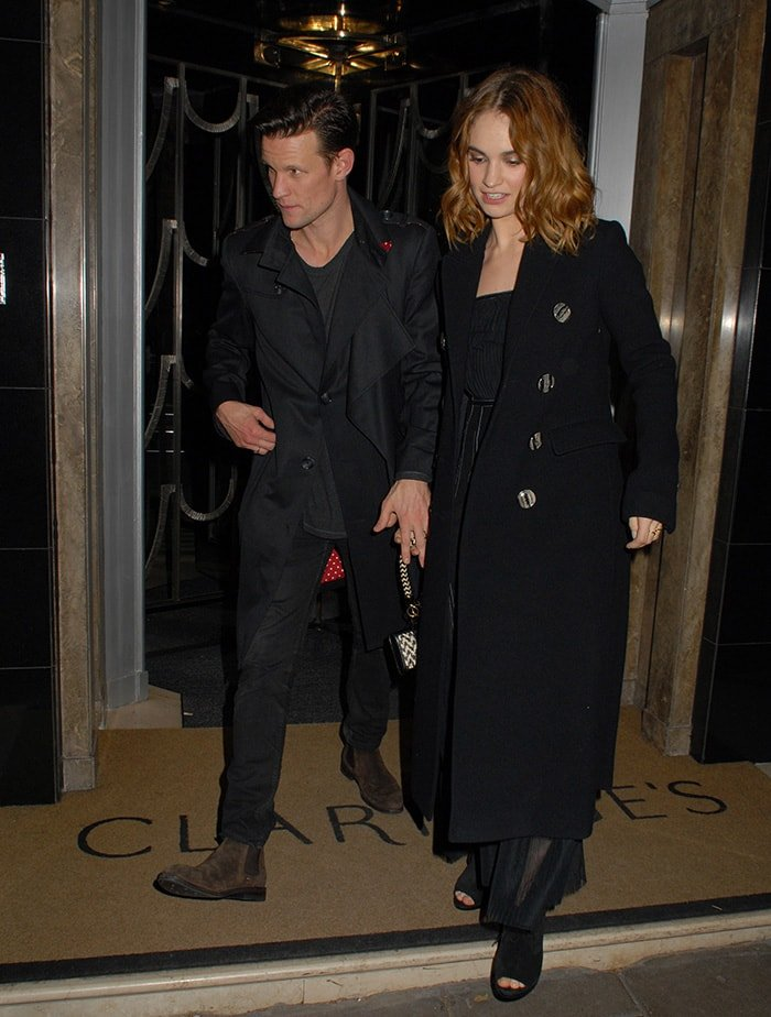Matt Smith and Lily James at Burberry and Claridge's Christmas Tree Launch Party at Claridge's in London on November 18, 2015