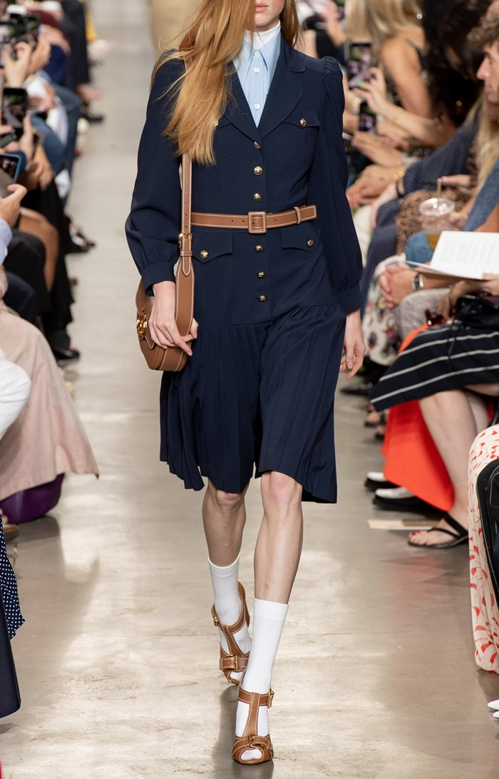 Michael Kors Collection Pleated Wool Serge Military Dress