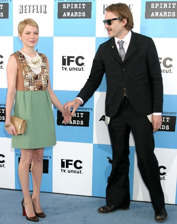 Michelle Williams and her boyfriend Heath Ledger arrive at the 22nd Annual Film Independent Spirit Awards