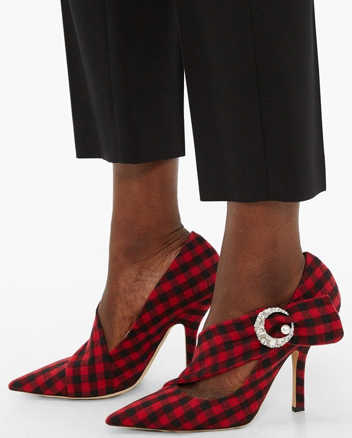 Turn to Midnight 00 for flamboyant footwear that is sure to make a statement like these red and black checked Miss Pump pumps
