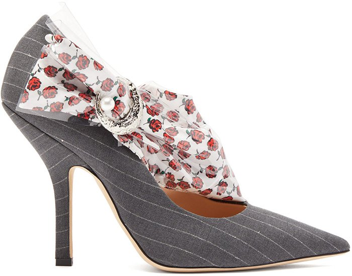 Midnight 00 offsets the smart pinstripes on these grey Miss Pump pumps with a white rose-print satin strap across the arch that's encased in glossy PVC