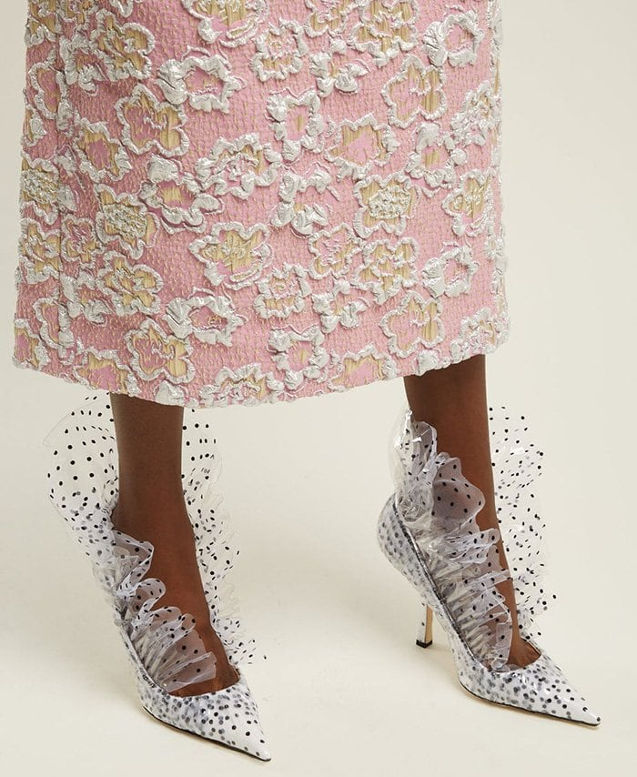 This extravagantly ruffled pair is expertly crafted in Italy from PVC and polka-dot printed tulle-covered leather