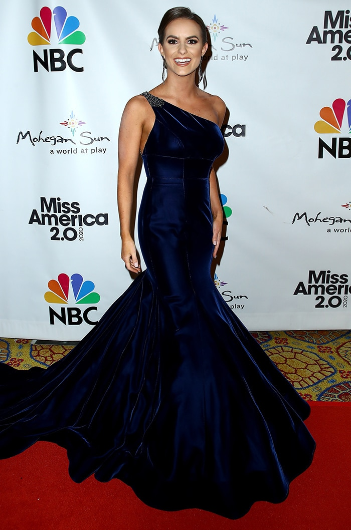 Miss Virginia CamilleSchrier walks the red carpet prior to the Miss America 2020 pageant