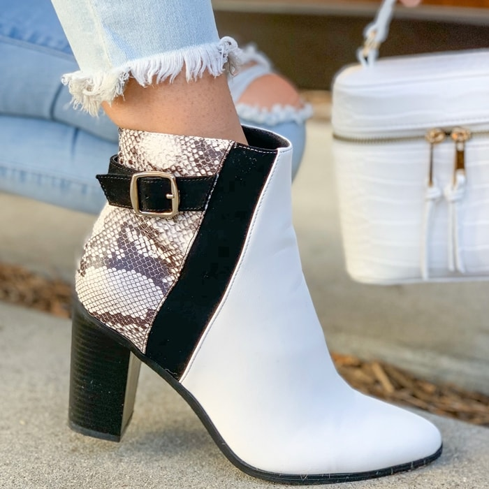 Black/White Olivaya Booties