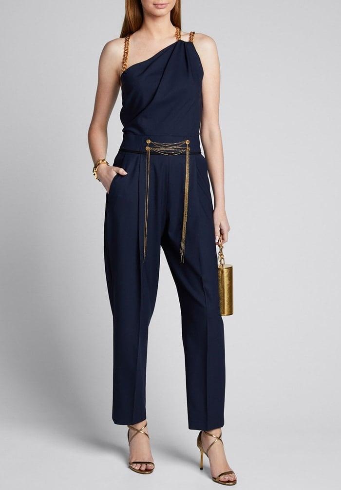 Oscar de la Renta Asymmetrical Chain Strap Stretch Wool Jumpsuit