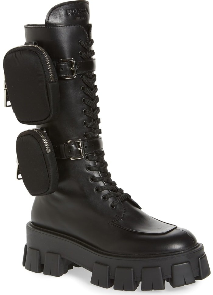 These black Prada Monolith pocket leather combat boots have been made to exacting detail in Italy