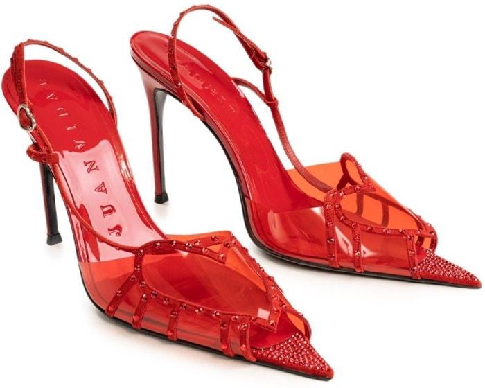 Red Juan Vidal PVC Heart Slingback Sandals