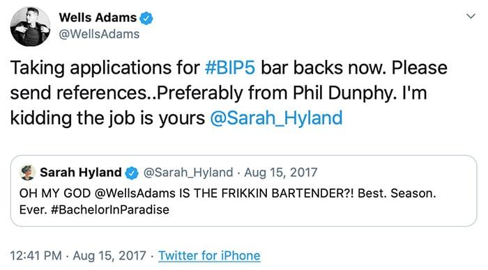 Wells Adams and Sarah Hyland began exchanging flirty tweets