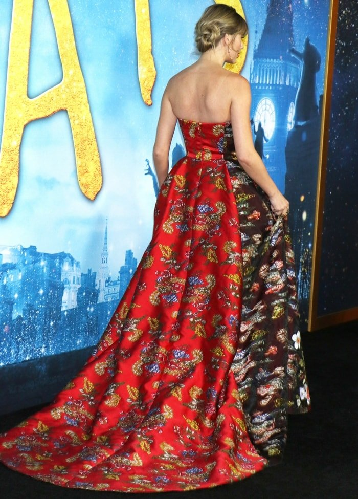 Taylor Swift's Oscar de la Renta ruby floral fil coupé satin ballgown paneled to showcase both sides of the fabric